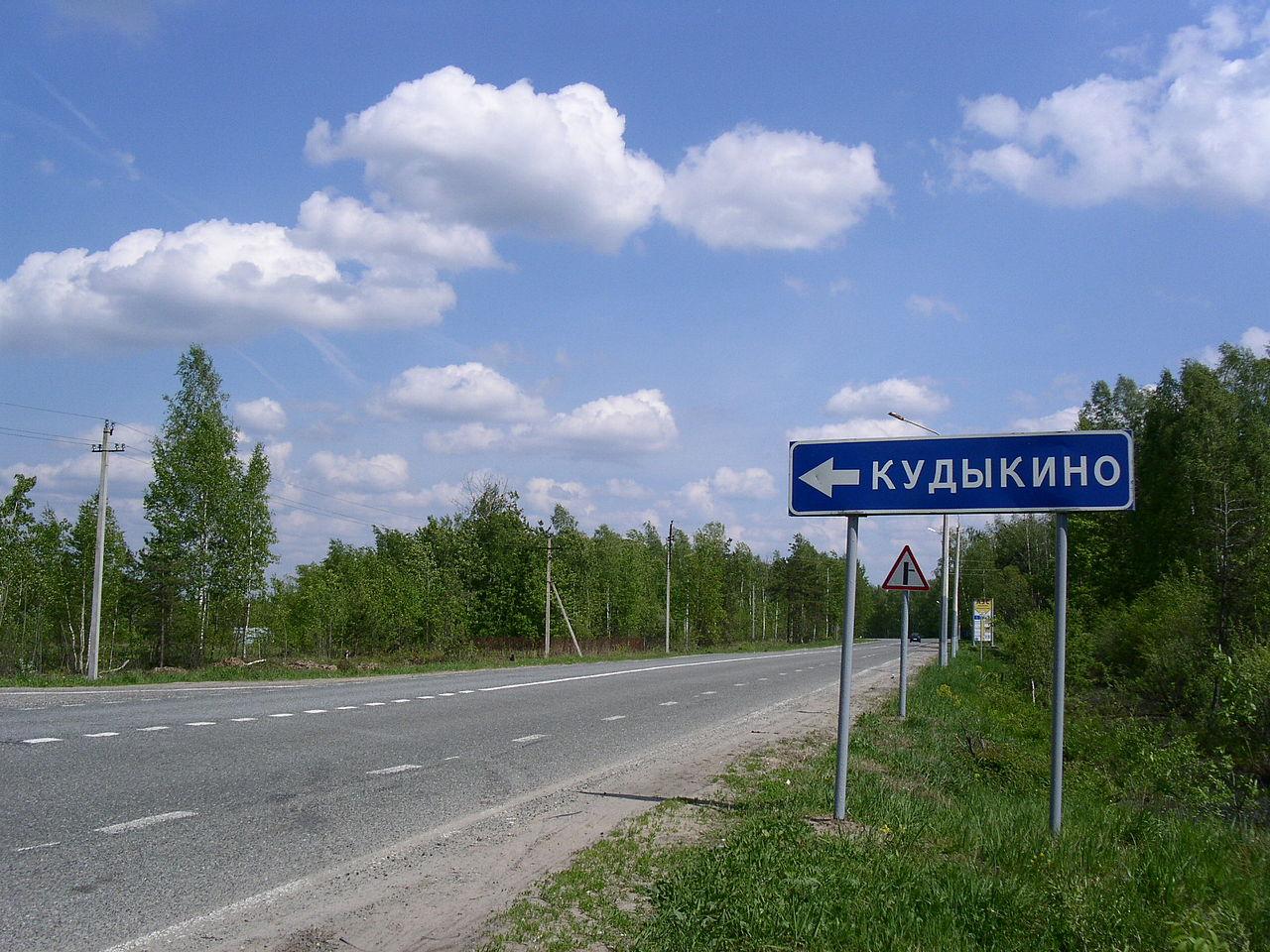 Дорожный указатель к деревне Кудыкино