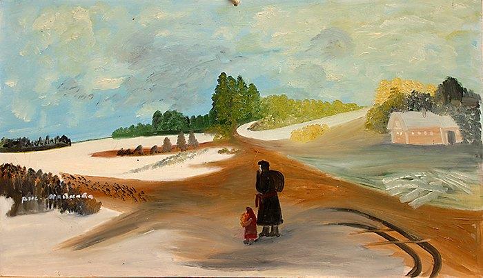"""Автор: Любовь Майкова. Работа, представленная на выставке """"Художники, наивно увидевшие окружающую их жизнь"""""""
