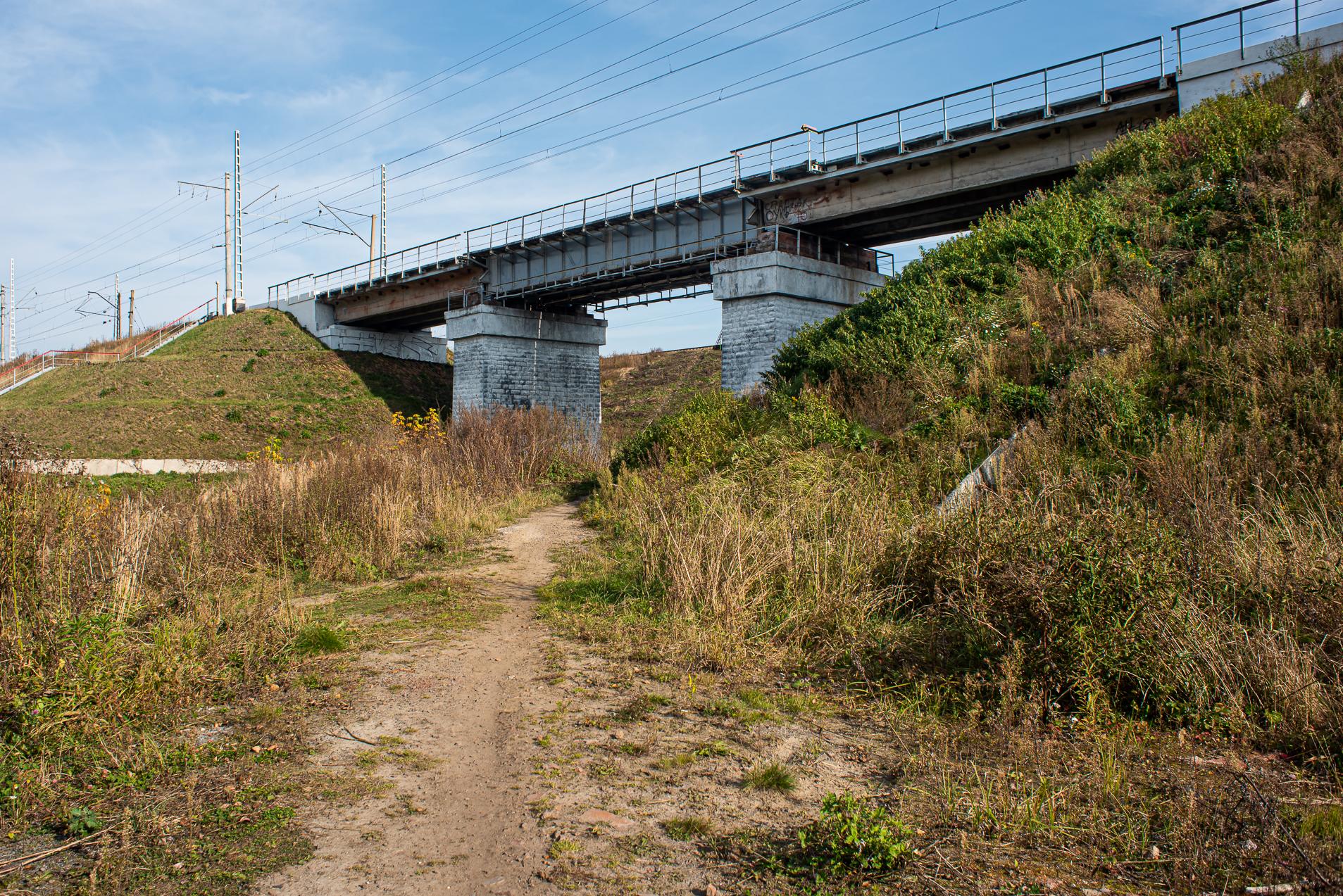 Барыбино, дорога к мосту, новый железнодорожный мост