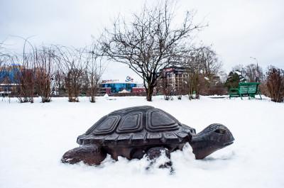 Одинцово. Центральный городской парк. Декоративное сооружение Плавающие бегемоты