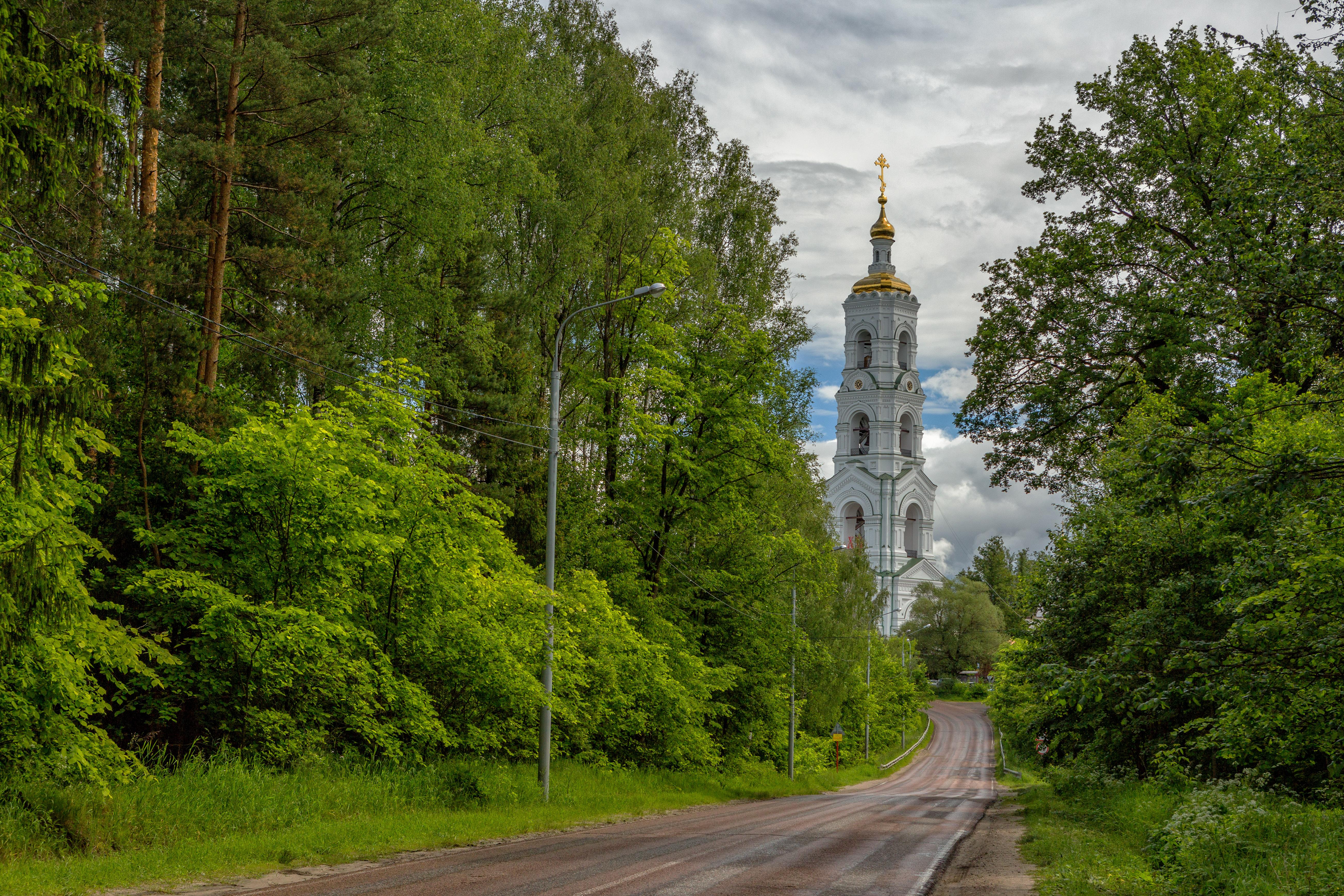 Николо-Берлюковская мужская пустынь. Вид на колокольню с дороги в деревню Авдотьино. июнь 2016.