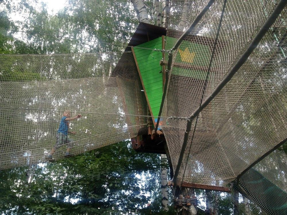 Домик на дереве «Царевна-Лягушка» с двухэтажной системой перехода в Парке приключений «Дикие белки»