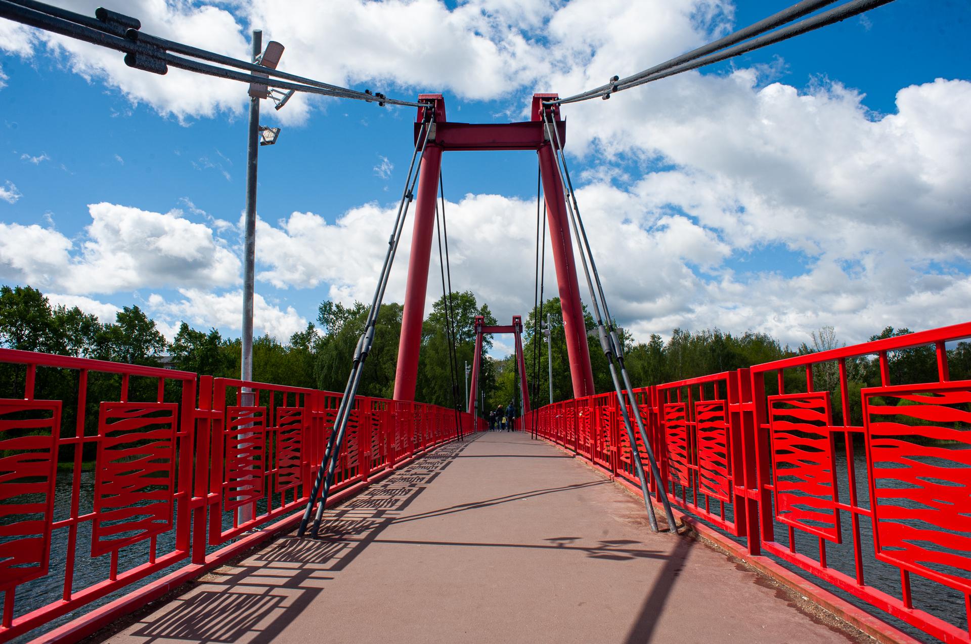 Пушкино, река Серебрянка, парк, пешеходный мост